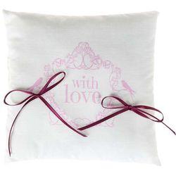 """Poduszka kwadratowa pod obrączki """"With love, różowy"""", SANTEX, 18 x 18 cm, 1 szt"""