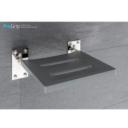 Krzesełko prysznicowe uchylne - stal nierdzewna połysk z siedziskiem z pianki poliuretanowej