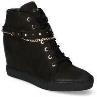 Damskie obuwie sportowe, Sneakersy Carinii B5277-360 Czarne nubuk