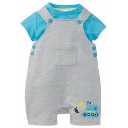 Koszulka niemowlęca + ogrodniczki dresowe (2 części), bawełna organiczna bonprix Koszulka niem+spod j.sz.m