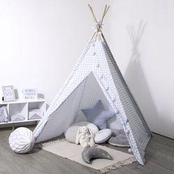Namiot indiański dla dzieci w kratę, namiot dziecięcy biało-niebieski, namiot dla dzieci do pokoju, namiocik dla dzieci, tipi