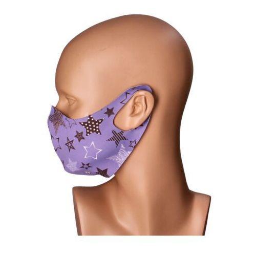 Maseczki ochronne, Maseczka na twarz wielorazowa fioletowa gwiazdki - fioletowy   czarny   biały