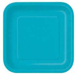 """Talerzyki papierowe, kwadratowe """"Kolorowe party"""" niebieskie, morskie (16 szt)"""