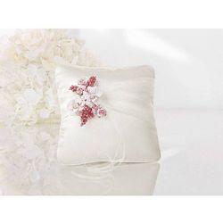 Poduszka pod obrączki różowa z różowymi kwiatkami - 1 szt.