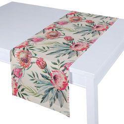 Dekoria Bieżnik prostokątny, różowe kwiaty na kremowym tle, 40 × 130 cm, New Art