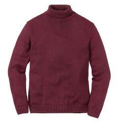 Sweter z golfem Regular Fit bonprix bordowy melanż