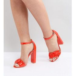 Lost Ink Red Block Heeled Sandals - Red