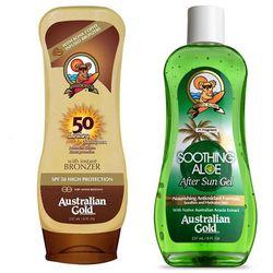 Australian Gold SPF 50 Lotion Bronzer and Soothing Aloe After Sun | Zestaw do opalania: balsam do opalania z bronzerem 237ml + żel po opalaniu 237ml