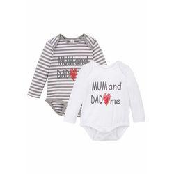 Body niemowlęce z długim rękawem (2 szt.), bawełna organiczna bonprix szaro-biały