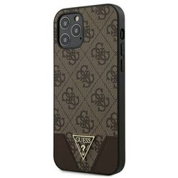 Guess 4G Triangle Collection - Etui na iPhone 12 / iPhone 12 Pro (brązowy)