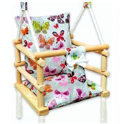 Szara huśtawka kubełkowa dla dzieci w motylki - Kersa