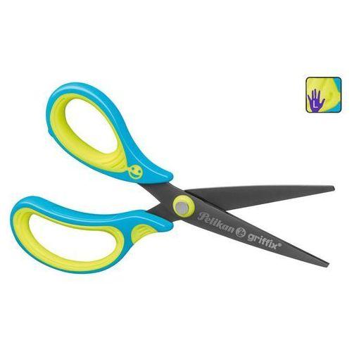 Nożyczki, Nożyczki GRIFFIX tytanowe leworęczn 14,5cm PELIKAN - praworęczne \ niebieski ||zielony