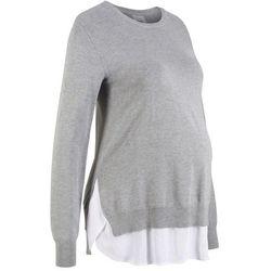 Sweter ciążowy 2 w 1, długi rękaw bonprix jasnoszary melanż