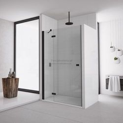 Sanswiss Annea drzwi do wnęki ze ścianką stałą uchylne 110 cm lewe czarne AN13G11000607