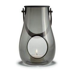 Lampion, skórzany uchwyt S, szare szkło - Holmegaard