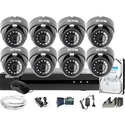 Monitoring Full HD BCS Basic Full HD 2MPx 1TB H265+ 8 x Kamera kopułkowa 2.8mm IR 30m Rejestrator 16 kanałowy