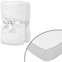 vidaXL Prześcieradła jersey w kolorze Białym x2 180x200-200x220 cm Darmowa wysyłka i zwroty