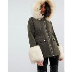 ASOS Parka with Faux Fur Collar and Cuff - Green