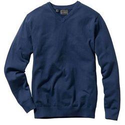 Sweter z dekoltem w serek bonprix ciemnoniebieski