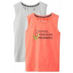 Koszulka bez rękawów (2 szt.) bonprix jasnoszary melanż - pomarańczowy neonowy z nadrukiem