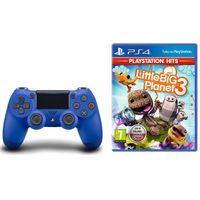 Gamepady, Kontroler SONY DualShock 4 V2 Niebieski + Little Big Planet 3 DARMOWY TRANSPORT