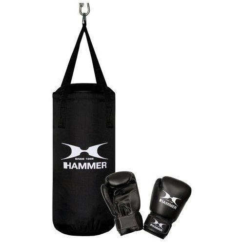 Pozostałe sporty walki, Zestaw bokserski HAMMER Junior – worek HAMMER Fit Junior czarny (50cm) + rękawice HAMMER Fit 6 OZ