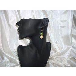 K-00001 Kolczyki z perełek szklanych oliwkowych i kremowych rabat 25%