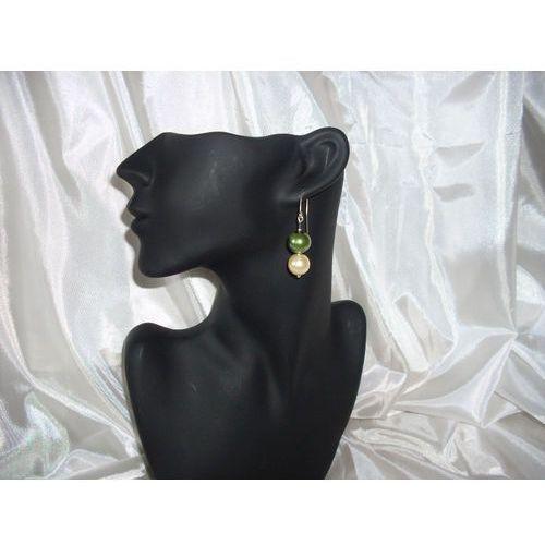 Kolczyki, K-00001 Kolczyki z perełek szklanych oliwkowych i kremowych rabat 25%
