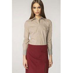 Nife Koszula ze wzorem na mankiecie - beż/kratka - K36