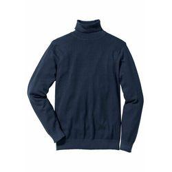 Sweter z golfem z dzianiny o gładkim splocie bonprix ciemnoniebieski