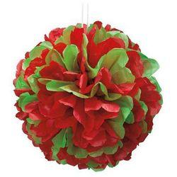 Dekoracja wisząca pompon czerwono-zielona - 1 szt.