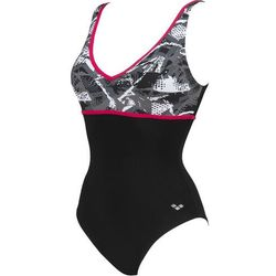 arena Jane Wing Back Jednoczęściowy strój kąpielowy Kobiety, czarny/szary DE 38   US 34 2021 Stroje kąpielowe