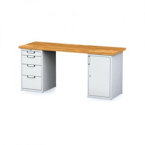 Stoły warsztatowe, Stół warsztatowy MECHANIC, 2000x700x880 mm, 1x 4 szufladowy kontener, 1x szafka, szary/szary