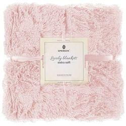 Narzuta na łóżko, pled 160x200 cm dwustronny koc na kanapę pudrowy róż