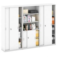 Pozostałe meble biurowe, Zestaw szaf MIRELLI z drzwiami przesuwnymi, Typ IX - biały