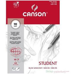 Blok rysunkowy CANSON STUDENT A3 90g. 50k.