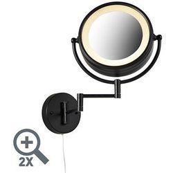 Designerskie lustro łazienkowe czarne regulowane LED IP44 ze sznurkiem - Vicino