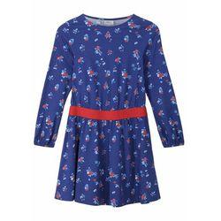 Sukienka dziewczęca z dżerseju, bawełna organiczna bonprix szafirowy wzorzysty