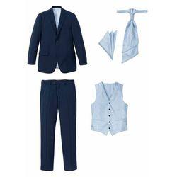 Garnitur 5-częściowy (marynarka, spodnie, kamizelka, plastron i chusteczka do butonierki) bonprix ciemnoniebieski