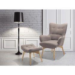 Fotel tapicerowany szaro-brązowy z hokerem VEJLE