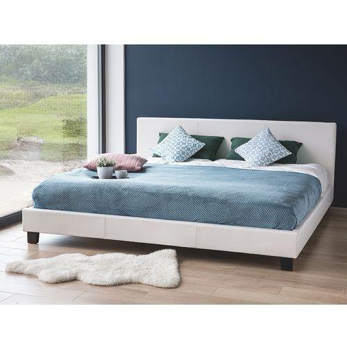 Łóżka, Łóżko białe - do sypialni - 180x200 cm - podwójne - skórzane - ORELLE