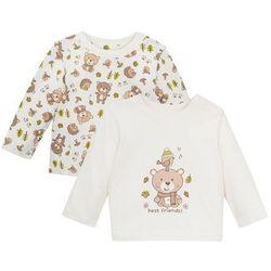 Koszulka niemowlęca z długim rękawem (2 szt.), bawełna organiczna bonprix biel wełny