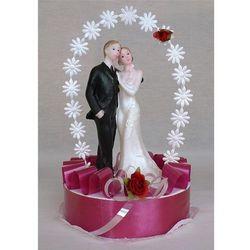 Stroik na tort weselny pojedyńczy duża para bordo