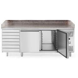 Stół chłodniczy do pizzy 2-drzwiowy z 7 szufladami i blatem granitowym, 2020x800x1110 mm | HENDI, 232842