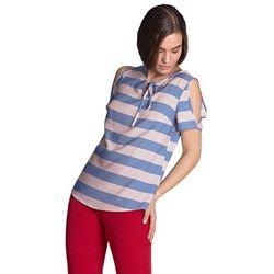 Bluzka z wycięciami na ramionach - fiolet/paski - B99