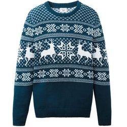Sweter dzianinowy w norweski wzór bonprix ciemnoniebiesko-biały