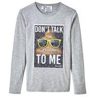 Koszulki z krótkim rękawkiem dziecięce, Shirt z długim rękawem i motywem EMOJI z obracanych cekinów bonprix jasnoszary melanż