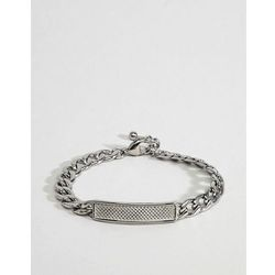 ASOS DESIGN Stainless Steel Chain Bracelet With Embossed Id Tag - Silver