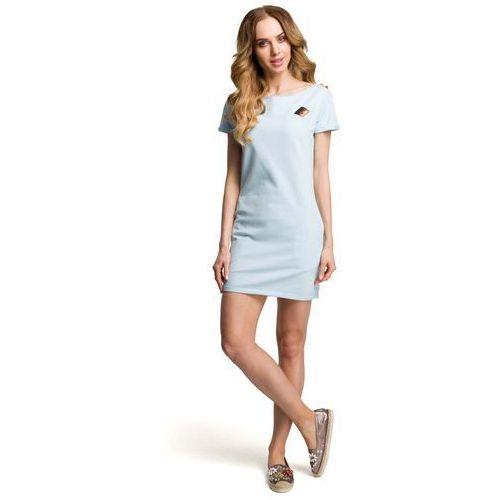 Suknie i sukienki, Błękitna Dopasowana Mini Sukienka z Ozdobną Naszywką
