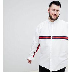 ASOS DESIGN Plus oversized oxford shirt with black tape detail in white - White